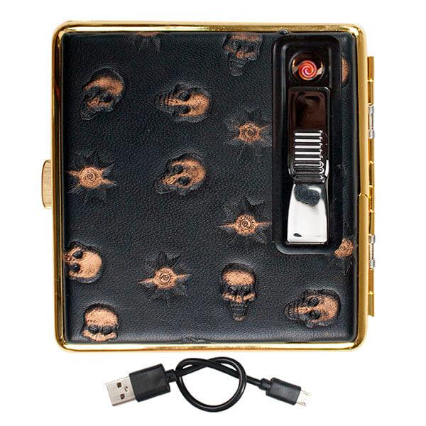 CIGARRERA CON USB CALAVERA NEGRA PARA 17 PZAS