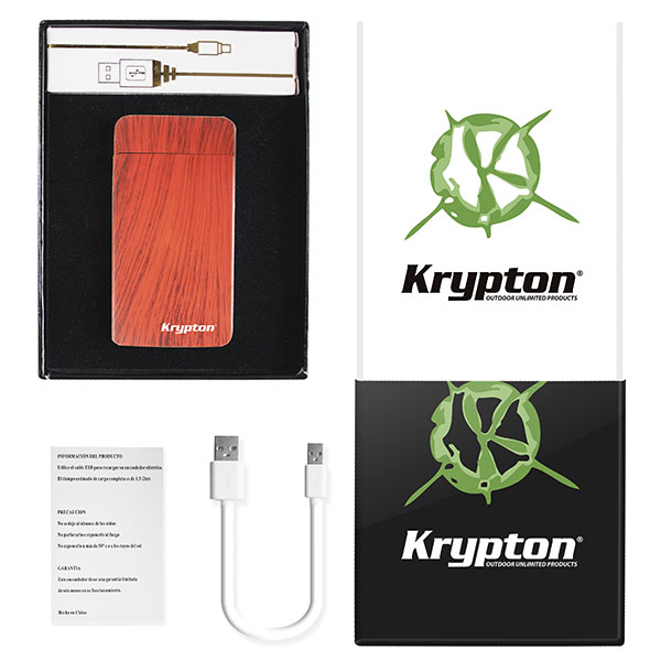 ENCENDEDOR KRYPTON VINTAGE ROJO CON CABLE USB INTEGRADO