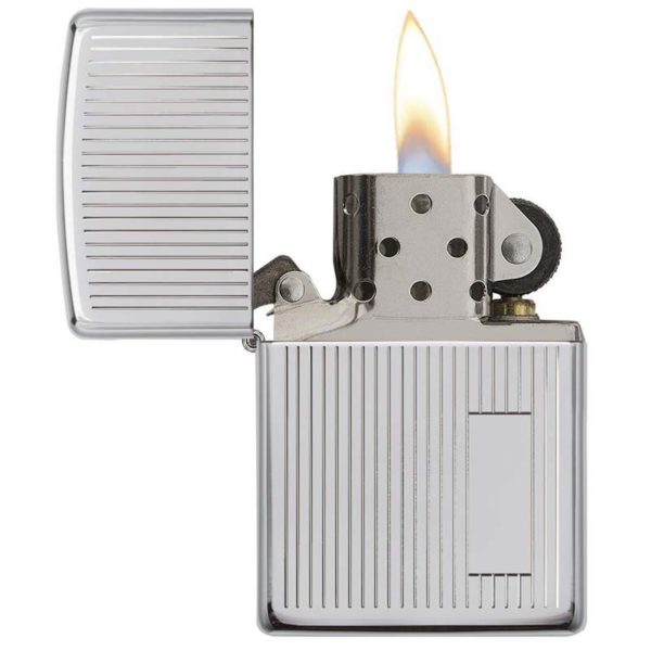 ENCENDEDOR ZIPPO CROMADO BRILLANTE RAYAS VERTICALES ENGINE TURNED