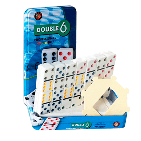 DOMINO PROFESIONAL DOBLE 6 CON PUNTOS DE COLORES