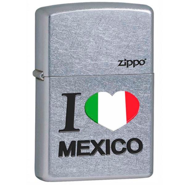 ENCENDEDOR ZIPPO MEXICO DISEÑO CROMADO I LOVE MEXICO