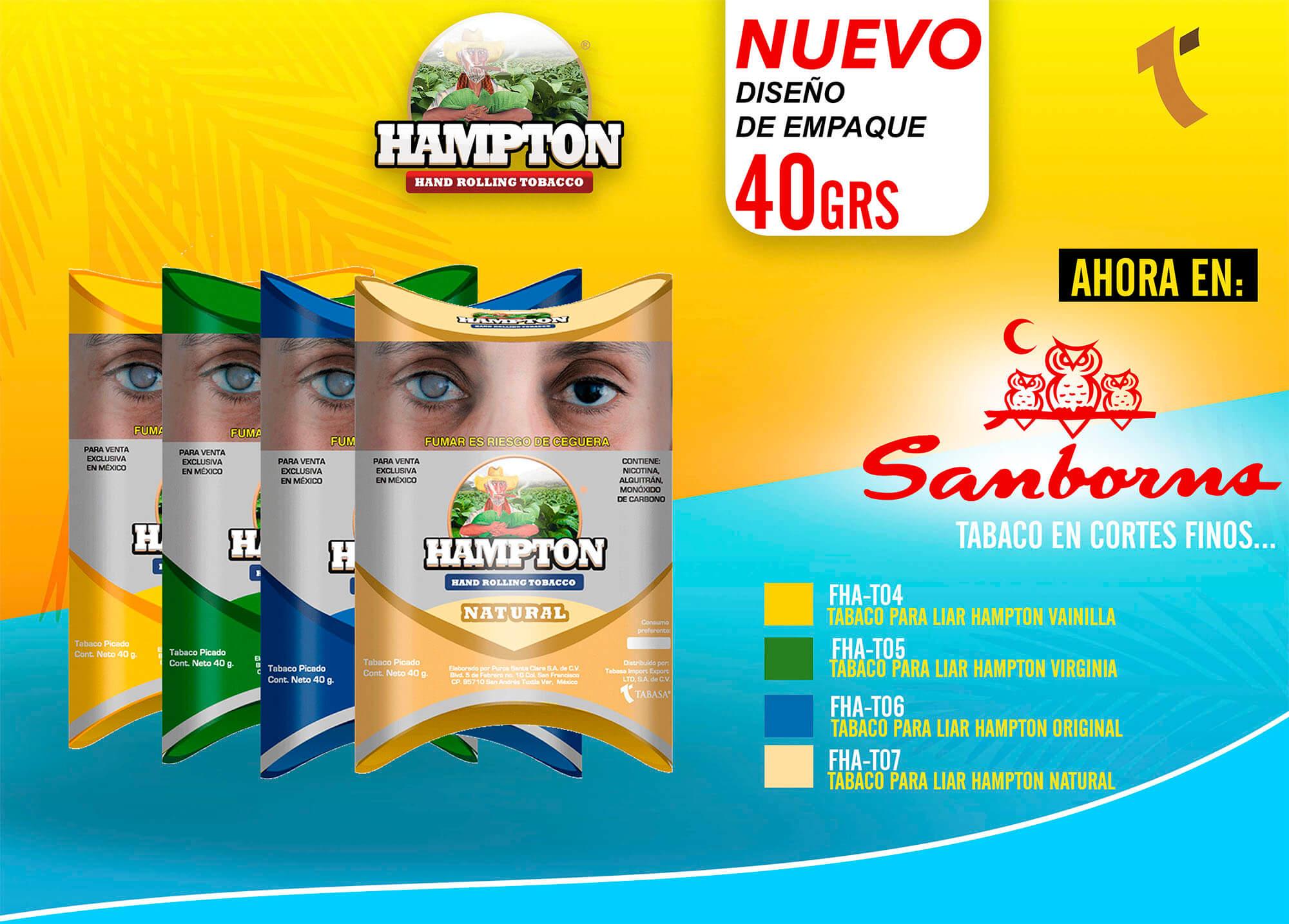 Nuevo Tabaco Hampton Disponible a la Venta en Sanborns